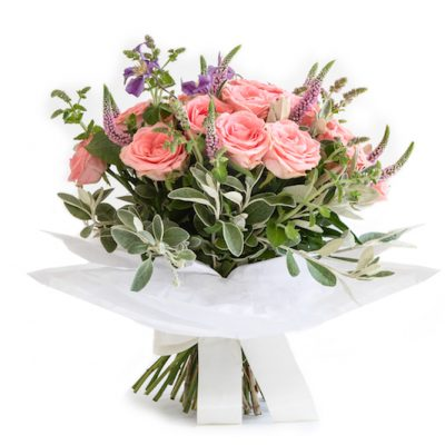 Make Me Blush Bouquet, Veronica, Roses, Clematis, Mint finish greenery