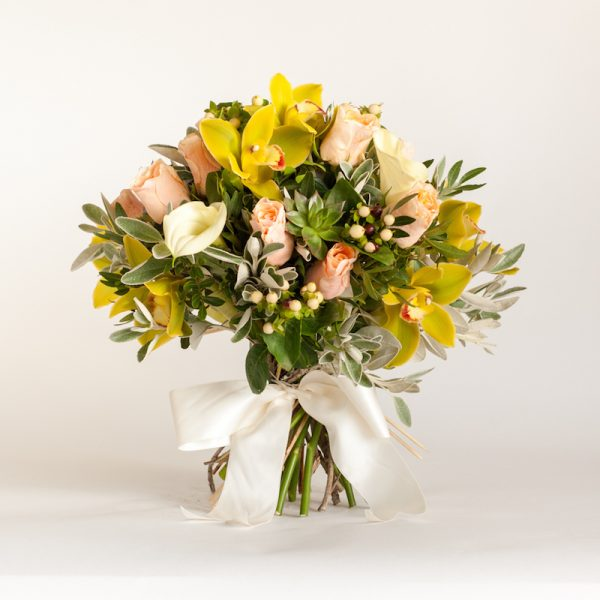 Clarice Bouquet - Cymbibduim heads, orchids, roses, hypericum finished with greenery