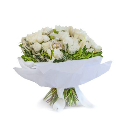 Classic Bouquet - Cymbidium heads and Lady Bombastic white roses