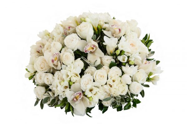 Classic Bouquet above - Cymbidium heads and Lady Bombastic white roses