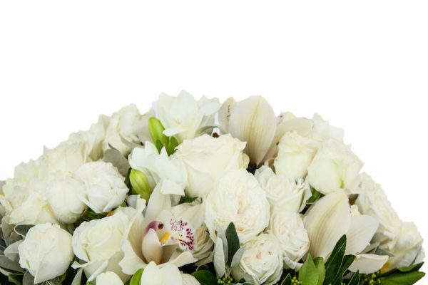 Classic Bouquet close up - Cymbidium heads and Lady Bombastic white roses