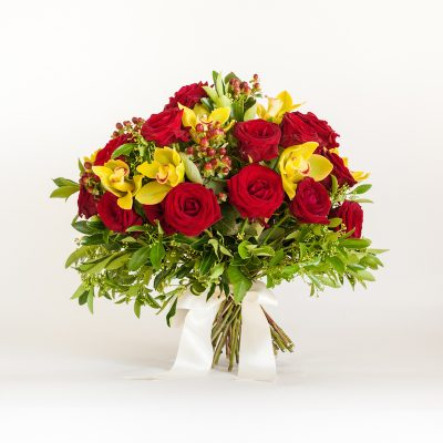 Fire Bouquet - Cymbidium heads orchid, Hypericum, Roses