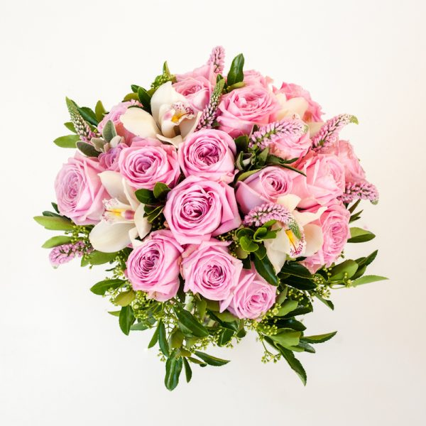 Magic Pink Bouquet from above, Heidi roses, veronica, Cymbidium heads orchids.