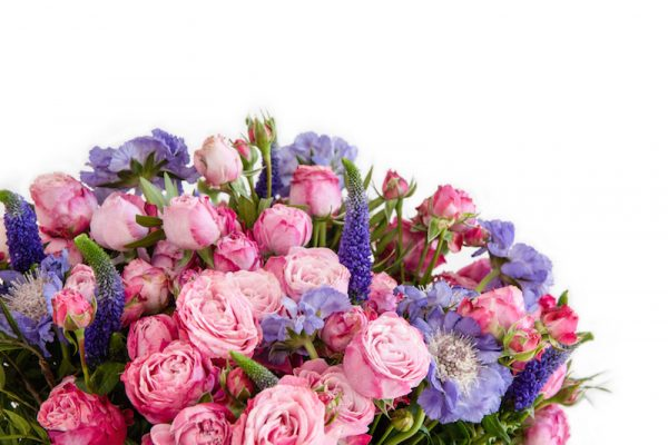 Magical Mystery Bouquet up close, Diana veronica, Lady bombastic spray Roses, Scabiosa Staefa and greenery