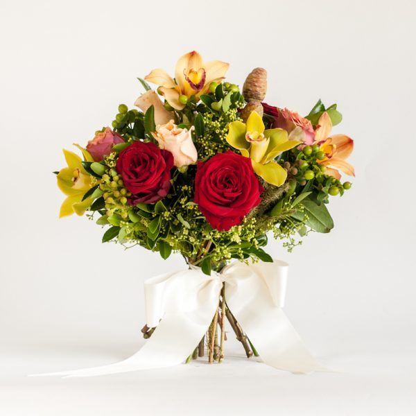 Vibrant Bouquet hand tied bouquet, red roses and orchids, ribbon tied