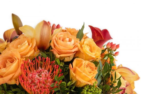 Sizzle Hand Tied bouquet close up - Roses, Hypericum, Orchids and Greenery