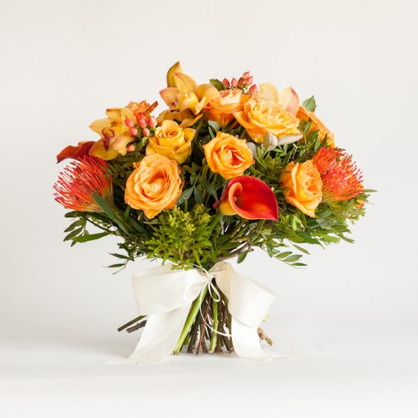 Sizzle Hand Tied bouquet - Roses, Hypericum, Orchids and Greenery