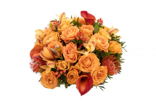 Sizzle Hand Tied bouquet from above - Roses, Hypericum, Orchids and Greenery