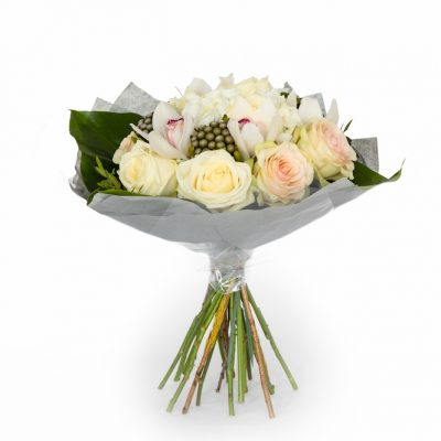 Elegant Bouquet Cream Rose And Orchid Hand Tied Bouquet Available For Next Day Delivery