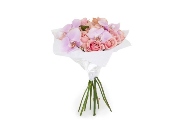 rose and orchid bouquet of subtle pinks and purples