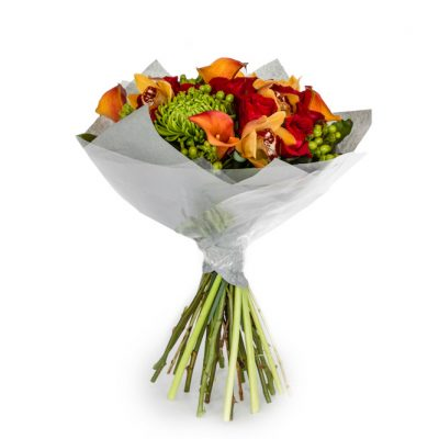 Upper east bouquet orange, red and yellow orchid and rose bouquet available for next day delivery