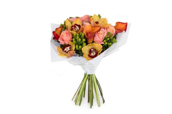 High Magic orange orchid and rose bouquet